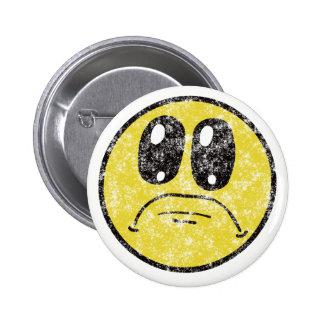 Vintage Sad Smiley Face Cartoon button
