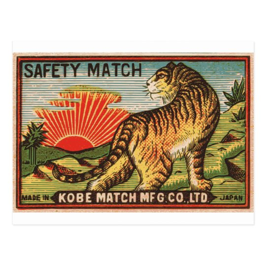 Vintage Safety Match Label - Tiger Postcard