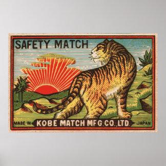 Vintage Safety Match Label - Tiger Poster