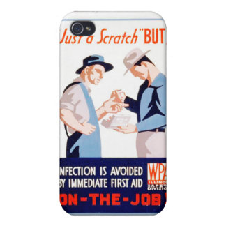 Vintage Safety On the Job First Aid WPA Poster Cover For iPhone 4