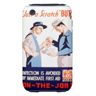 Vintage Safety On the Job First Aid WPA Poster iPhone 3 Tough Case