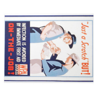 Vintage Safety On the Job First Aid WPA Poster Notepad