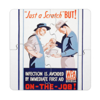 Vintage Safety On the Job First Aid WPA Poster Puzzle Coaster