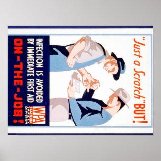 Vintage Safety On the Job WPA Poster Illinois