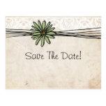 Vintage Sage Daisy Save The Date Postcard