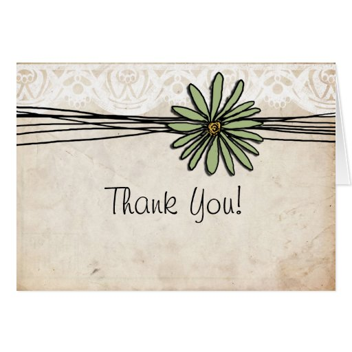 Vintage Sage Daisy Thank You Greeting Card