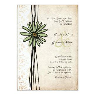 "Vintage Sage Daisy Wedding Invitation 5"" X 7"" Invitation Card"