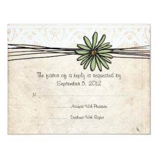 Vintage Sage Daisy Wedding RSVP Personalized Announcement