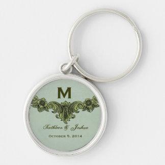 Vintage Sage Green Background Monogram Wedding Silver-Colored Round Keychain