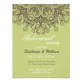 Vintage Sage Green Rehearsal Dinner Card Custom Invitation