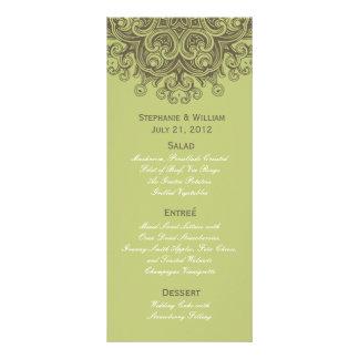 Vintage Sage Green Wedding Menu Rack Card