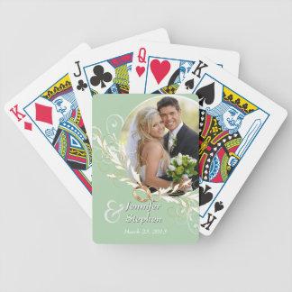 Vintage Sage Swirls Wedding Photo Playing Cards