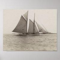 Vintage Sail Boat Photos Poster