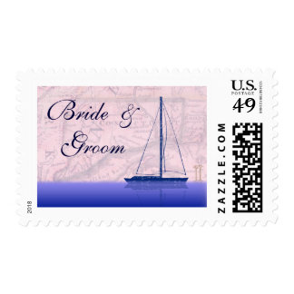 Vintage sail boat with Connecticut map Postage