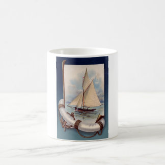 Vintage sail boat with life saver, rope and anchor coffee mug