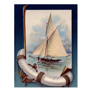 Vintage sail boat with life saver, rope and anchor postcard