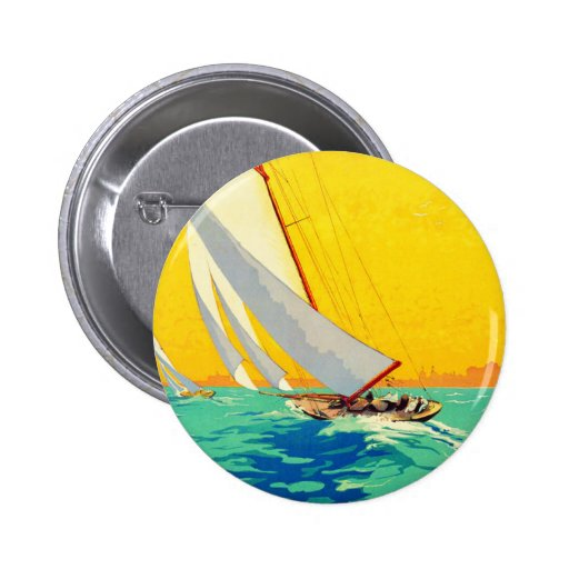 Vintage Sail Boats French Travel Buttons