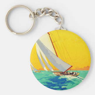 Vintage Sail Boats French Travel Keychain