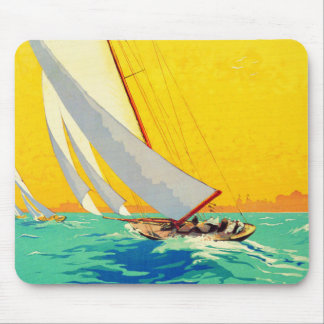 Vintage Sail Boats French Travel Mouse Pad