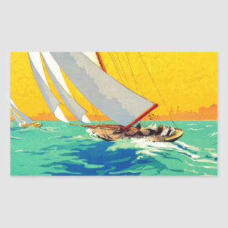 Vintage Sail Boats French Travel Rectangle Stickers
