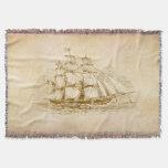 Vintage Sail Ship Throw