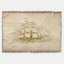 Vintage Sail Ship Throw Blanket