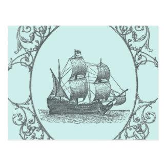 vintage sailboat Boy Pirate Birthday Party Postcard
