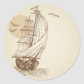 Vintage sailboat classic round sticker