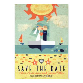 Vintage Sailboat Destination Beach Save the Date Card