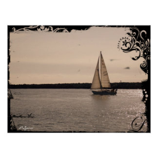 Vintage Sailboat Headed out to Sea - Poster