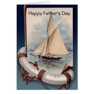 VINTAGE SAILBOAT LIFEBELT ANS ANCHOR FATHER'S DAY CARD