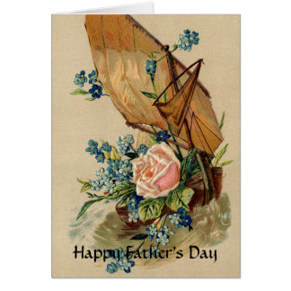VINTAGE SAILBOAT,PINK ROSE,FLOWERS /FATHER'S DAY CARD