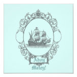 "Vintage Sailboat Pirate Birthday Party Invitation 5.25"" Square Invitation Card"