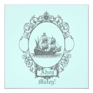 Vintage Sailboat Pirate Birthday Party Invitation