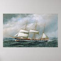 Vintage Sailboat Rolling up Sails Illustration Poster