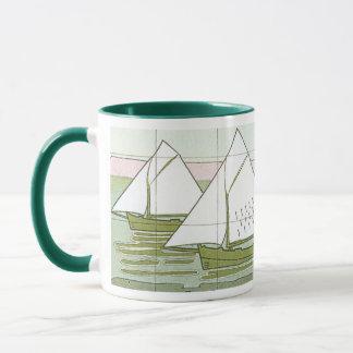 Vintage Sailboat Tile Art Coffee Mug