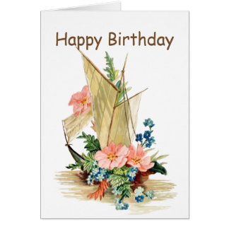 Vintage Sailboat with Flowers Card