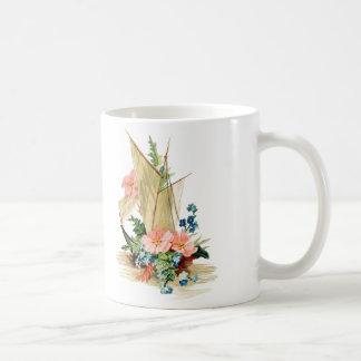 Vintage Sailboat with Flowers Coffee Mug