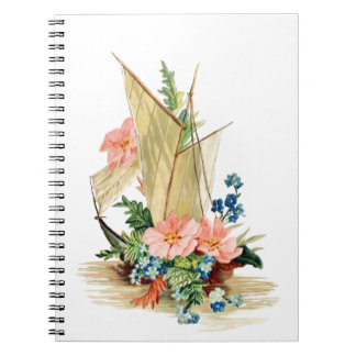 Vintage Sailboat with Flowers Note Book
