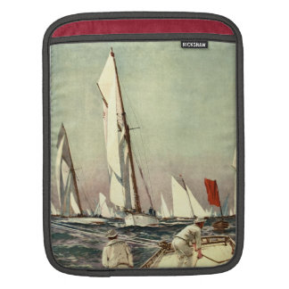 Vintage Sailboats Men Sailing Antique Willy Stower iPad Sleeve