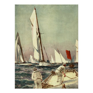 Vintage Sailboats Men Sailing Antique Willy Stower Poster