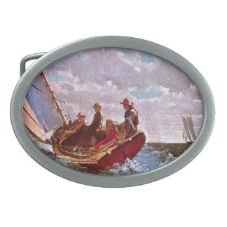 Vintage sailing dinghy in an open sea oval belt buckle