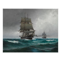 Vintage Sailing in Rough Waters Painting (1876) Poster