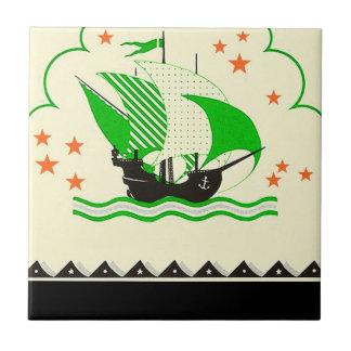 Vintage Sailing Pirate Ship Sails Bath Accent Tile