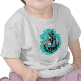Vintage sailing ship and anchor baby t-shirt