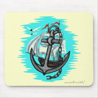 Vintage sailing ship and anchor mousepad