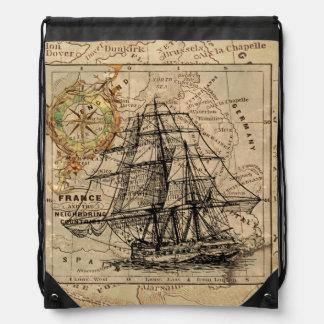 Vintage Sailing Ship and Old European Map Drawstring Bag