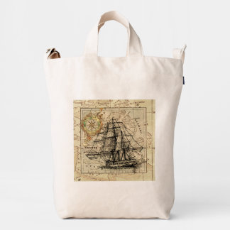 Vintage Sailing Ship and Old European Map Duck Bag