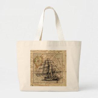 Vintage Sailing Ship and Old European Map Large Tote Bag