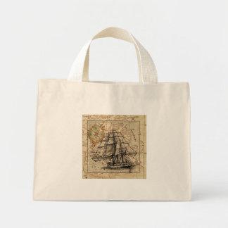 Vintage Sailing Ship and Old European Map Mini Tote Bag